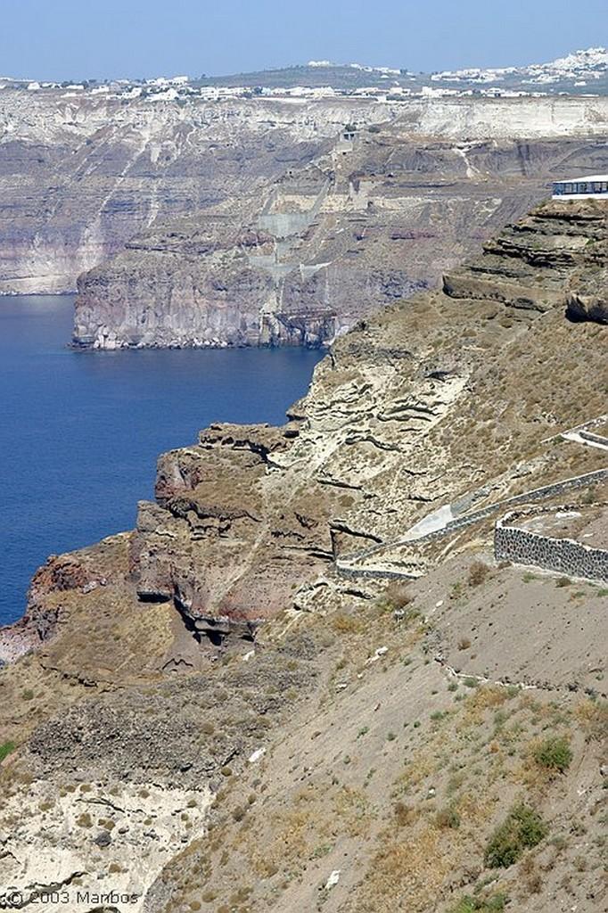 Santorini Puerto de Athinios desde Caldera View Santorini