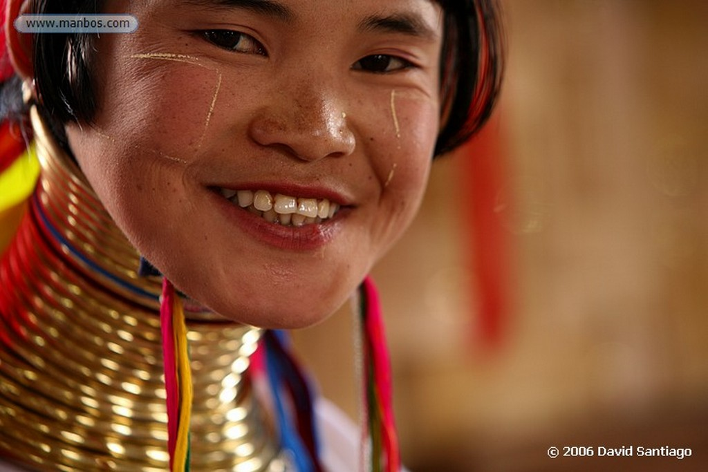 Lago Inle Mujer Jirafa en Kaung Daing Lago Inlhe Myanmar Lago Inle