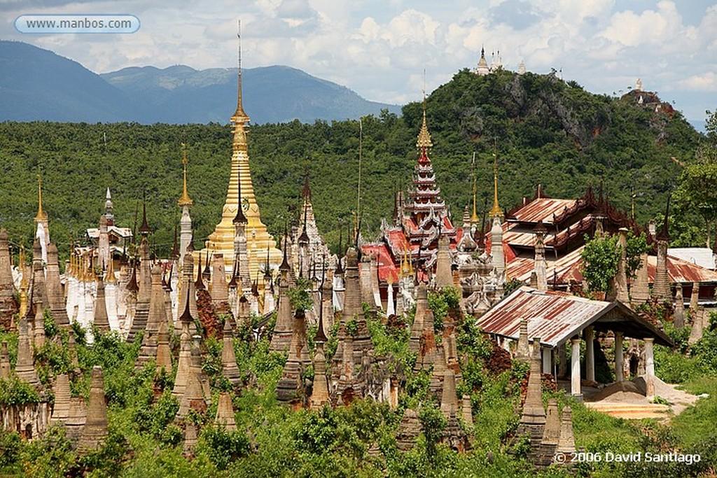 Lago Inle Estupas y pagodas en Nyaung Ohok en Indein en el Lago Inlhe Myanmar Lago Inle