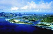 Foto aerea, Isla de Huaine, Polinesia Francesa
