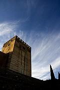 Foto de Granada, La Alcazaba, España - Torre y cipreses